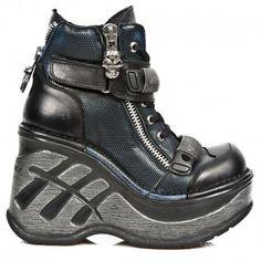 Chaussures New Rock Neo Cuña Sport Bleues et Noires M.SP0002-C3