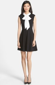 Betsey Johnson Bow Collar Stretch Jacquard Fit  Flare Dress | No