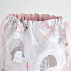 Toddler Girls Drawstring Backpack Sewing Tutorial. How-to step by step