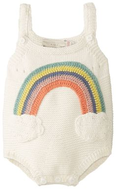 Stella McCartney Unisex-Baby Newborn Dotty Rainbow Knit Romper, Off-White, Knit and crochet together!