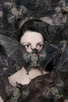"""cross-connect: """" Caryn Drexl born is a self-taught conceptual and portrait photographer based in north/central Florida, USA. She has a unique approach to taking female portraits. Her style is. Animal Spirit Guides, Spirit Animal, Mode Bizarre, Art Zombie, La Danse Macabre, Creepy, Creatures Of The Night, Portraits, Animal Totems"""