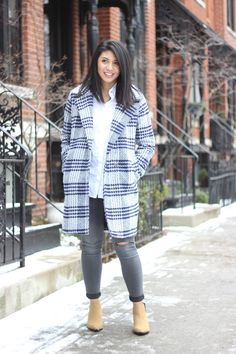 Plaid coat, distressed jeans, booties, winter fashion