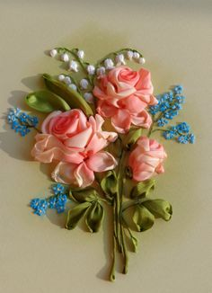 Ribbon embroidery of Peach roses contrasted by what look like little blue forget-me-nots and a sprig of lily of the valley- beautiful colors!- Gallery.ru / Миниатюра - Вышивка лентами часть 3 - silkfantasy