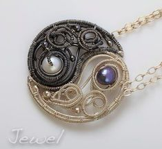 Celtic yin yang dragons by FullmetalDevil on deviantART Wire Pendant, Wire Wrapped Pendant, Wire Wrapped Jewelry, Wire Jewelry, Jewelry Art, Jewelry Design, Jewellery, Copper Jewelry, Wire Crafts