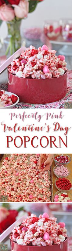 Perfectly Pink Valentine's Day Popcorn. More ideas and free printable card at: http://www.sewinlove.com.au/2016/02/05/free-valentines-day-card-funny/