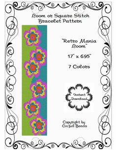 LOOM OR SQUARE Stitch Pattern - Retro Pattern - Peyote Stitch Pattern - Miyuki Delicas - Flower Loom Pattern - Floral Square Stitch Pattern