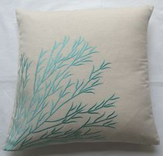 off white throw pillow with aqua blue coral branch embroidery 18 inch cushion cover INSTOCK. $26.49, via Etsy.