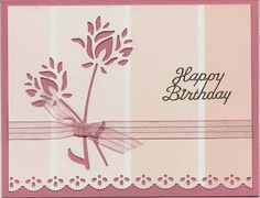 """By cards4joy at Splitcoaststampers. Uses Memory Box """"Wild Blooms."""" Background is a paint sample card."""