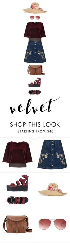 """""""Velvet summer story"""" by haineni ❤ liked on Polyvore featuring River Island, Topshop, Pierre Hardy, Gucci, The Sak and Steve Madden"""