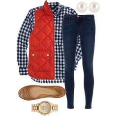 Is it vest season yet? A fashion look from September 2014 featuring long sleeve tops, red vest and frayed-hem jeans. Browse and shop related looks. Adrette Outfits, Fall Outfits, Casual Outfits, Fashion Outfits, Womens Fashion, Preppy Mode, Preppy Style, My Style, Western Outfits