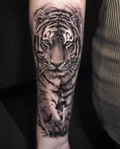 Tiger 🐯 🐯 🐯 tattoo by lion head tattoos, dad tattoos, tig Arm Tattoos Tiger, Mens Tiger Tattoo, Tiger Face Tattoo, Tiger Tattoo Sleeve, Big Cat Tattoo, Lion Head Tattoos, Tiger Tattoo Design, Tattoos Arm Mann, Dad Tattoos
