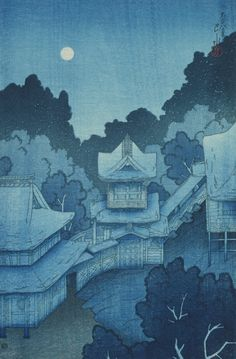Hasui Kawase | Mountain Temple at Sendai by Moonlight (Sendai, Yama no Tera), from the series Souvenirs of Travels, First Series (Tabi Miyage, Dai Isshu) | Toledo Museum of Art | Discover and Shop Museum Art Prints | 1000Museums