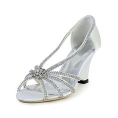Bridal Speacial Satin Stiletto Sandals with Rhinestone Wedding/Special Occasion Shoes(More Colors) – USD $ 79.99