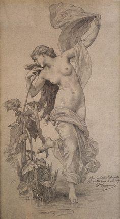 L'aurore ~ Pencil on paper ~ William Adolphe Bouguereau (1825-1905)