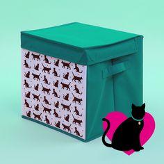 Plátěný úložný box s víkem na uskladnění hraček nebo oblečení. S motivem I Love My Cat a dalšími...