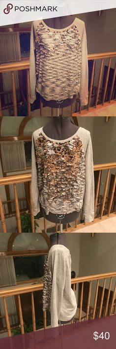 Express Sequin Top Silver/Gold Express Sequin Top Silver/Gold, almost like the sequin pillows from Christmas, Silver on one side & gold on the other, very very soft, size large, good condition, smoke free & pet free home Express Tops Blouses