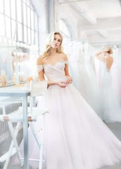 1db1b0a86fc8 Style 1809 Milo Blush by Hayley Paige bridal gown - Hydrangea draped tulle  bridal ball gown, sculpted sweetheart bodice, removable off-the-shoulder ...