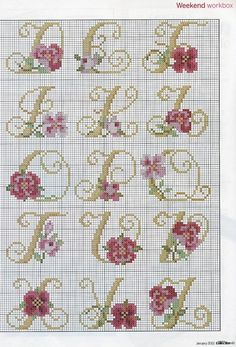 "Photo from album ""Cross Stitch Collection 205 январь on Yandex. Simple Cross Stitch, Cross Stitch Rose, Cross Stitch Baby, Cross Stitch Charts, Blackwork Embroidery, Embroidery Letters, Cross Stitch Embroidery, Quilt Stitching, Cross Stitching"