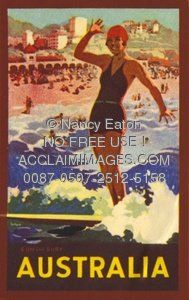 Vintage Antique Old Picture Image Illustration of an Australian Travel Poster With a Surfing Woman At The Beach, 1931