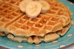 Low-fat waffles : This recipe makes 3 full waffles for us, 2 points plus per quarter section. We substitute coconut oil for the vegetable.