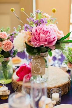 burlap and pastel flowers wedding centerpiece