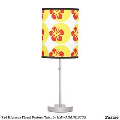 Red Hibiscus Floral Pattern Table Lamp