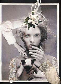 photography, collage, fashion, beauty, black & white, color, stephen jones hat