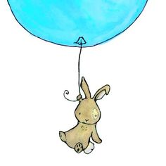 children's original watercolor painting--Bunny Balloon aqua--8x10 archival art print. $20.00, via Etsy.