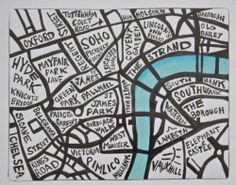 Original art for your gallery wall.  Typography map of London, Oxford Street, Tottenham Court Road, High Holborn, Barbican, Hyde Park, Knightsbridge, Chelsea, Belgravia, Sloan Square, Kings Road, Covent Garden, Soho, Mayfair, Park Lane, Westminster, Pimlico, Regen Street... quirky, shabby chic, British Art...