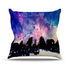 "Theresa Giolzetti ""First Snow"" Purple Blue Outdoor Throw Pillow"