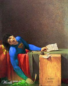 Quand les Super Héros s'invitent dans la peinture classique, une sélection des créationsréalisées parles utilisateurs du site Worth1000, spécialisé