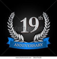 19th anniversary logo with blue ribbon. 19 years anniversary signs illustration. Silver anniversary wreath ribbon logo. - stock vector