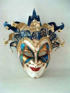 SI Lucia Jolly Ale Decor 1 Blue Masquerade Mask Italy | eBay