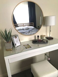 Elegant, minimal, and bright with a hint of midcentury modern, this vanity (including accessories) was created for under Elegant Home Decor, Elegant Homes, Built In Dressing Table, Ikea Dressing Table, Awesome Bedrooms, Decor Interior Design, Bedroom Decor, Bedroom Mirrors, Bedroom Ideas