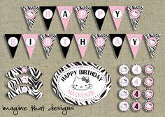 Hello Kitty Zebra PRINTABLE Party Kit by ImagineThatbySam on Etsy, $15.00
