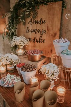 All Details You Need to Know About Home Decoration - Modern Candy Bar Rustique, Rustic Candy Bar, Candy Bar Party, Candy Bar Wedding, Dulce Candy, Donut Bar, My Perfect Wedding, Cheap Wedding Invitations, Fiesta Party