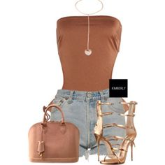 A fashion look from July 2016 featuring bathing suits bikini, denim shorts and high heel shoes. Browse and shop related looks. Sexy Outfits, Cute Swag Outfits, Classy Outfits, Stylish Outfits, Summer Outfits, Girl Outfits, Fashion Outfits, Polyvore Outfits, Polyvore Fashion