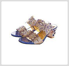 Sommer-Schuhe mit hohen Absätzen hohlen Sandalen (EU39=CN40=25cm, Edelstein blau ) - Sandalen für frauen (*Partner-Link)