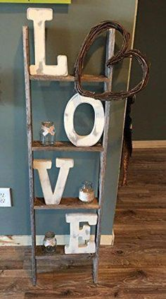 4 ft Blanket Ladder - Rustic Ladder Wood Wall Shelf You are in the right place about home decor habitacio - Rustic Ladder, Rustic Shelves, Rustic Barn, Vintage Ladder, Diy Casa, Wood Wall Shelf, Country Farmhouse Decor, Modern Farmhouse, Rustic House Decor