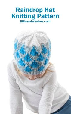 This cute raindrop hat knitting pattern has blue raindrops and a white fluffy cloud on top, it's a perfect spring knit for your baby or toddler! Baby Hat Knitting Pattern, Fair Isle Knitting Patterns, Crochet Patterns, Circular Knitting Needles, Knitting Stitches, Knitting Projects, Knitted Hats, Cloud, Knit Crochet