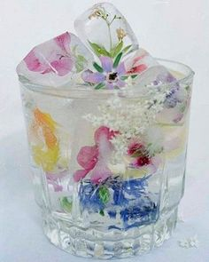 technically ice cubes with wildflowers, but pretty as table decoration