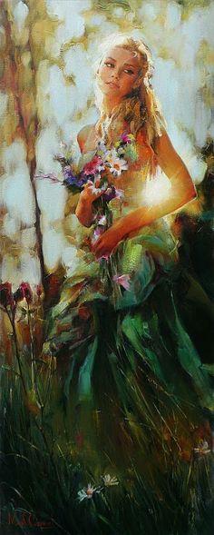 Illustration/Painting by Michael & Inessa Garmash Woman Painting, Figure Painting, Painting & Drawing, Figurative Kunst, L'art Du Portrait, Beautiful Paintings, Love Art, Oeuvre D'art, Female Art