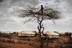 "October 8, 2011. In the refugee camp ""Hilaweyn,"" also called ""Hells wind,"" a small boy overlooks the massive camp which is now grown to more than 40.000 refugees."