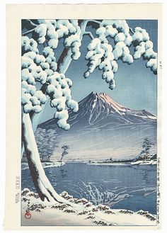 Clearing after a Snowfall on Mt. Fuji (Tagonura Beach), 1932 by Hasui (1883 - 1957); Japanese woodblock print.