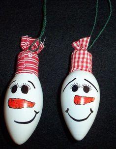 snowman lightbulb ornament - Google Search
