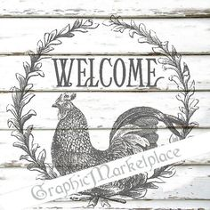 Welcome Rooster Wreath Transfer Download