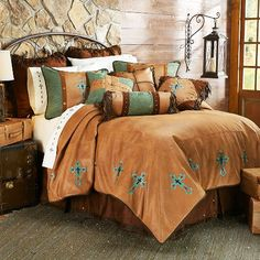"""""""Las Cruces"""" Western Turquoise Cross Bedding Set"""