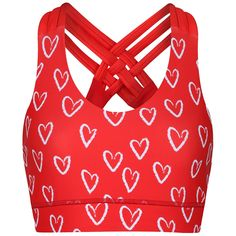 Tikiboo's Sweetheart Cross Back Bra Features A Beautiful Print Of White Heart Outlines On A Bright Red Base. Cut From Stretch Lycra Fabric With Delicate Triple Strap Detail At The Back, It's A Bra You'll Love To Show Off. White Heart Outline, Outlines, Workout Tops, Criss Cross, Delicate, Base, Bright, Detail, Create
