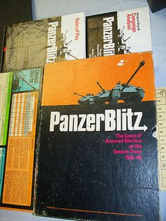 PANZER BLITZ: THE GAME OF ARMORED WARFARE ON THE EASTERN FRONT 1941-45   MILITARY STRATEGY  Copyright from the 1970's The Avalon Hill Company   This game is in acceptable condition. It has considerable wear and discoloration on box and the other box enclosed. This comes with the 3 piece game board map, lots of playing pieces   (I do not know if all of the playing pieces are there),   Combat results table, campaign analysis, rules of play, and intro to the game.