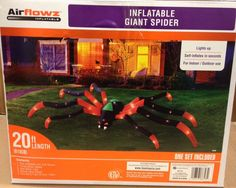 20 Foot Giant Spider w/ Fangs LED Airblown Inflatable Halloween Yard Decor Prop